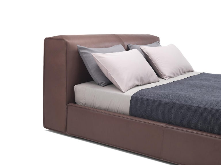 'SFORZA' Luxury King Size Bed with Premium Brown Leather Headboard and Bedframe 2