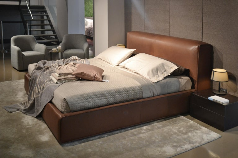 'SFORZA' Luxury King Size Bed with Premium Brown Leather Headboard and Bedframe 3