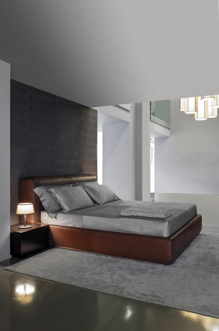 'SFORZA' Luxury King Size Bed with Premium Brown Leather Headboard and Bedframe 4