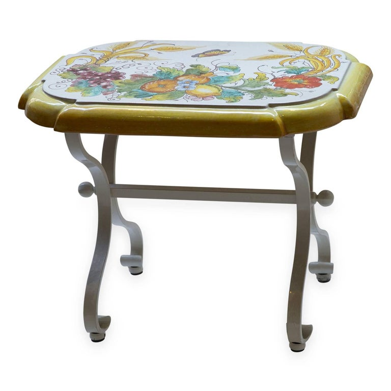 Tuscan Ceramic Clay Stool Hand Painted For Sale At 1stdibs