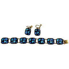 S.G.Morris Modernist Bracelet & Earrings Enamel Sterling Silver Midcentury Rare