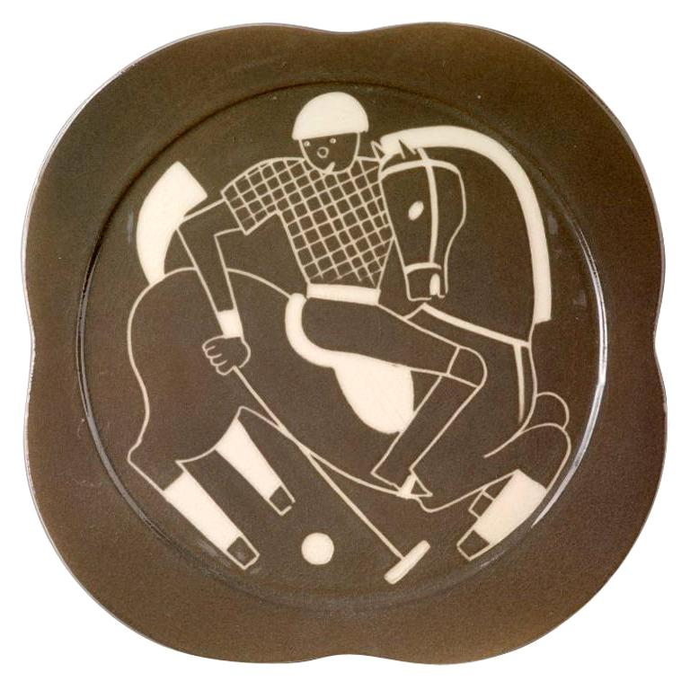 Sgraffito ceramic 'Polo' plates by Waylande Gregory For Sale