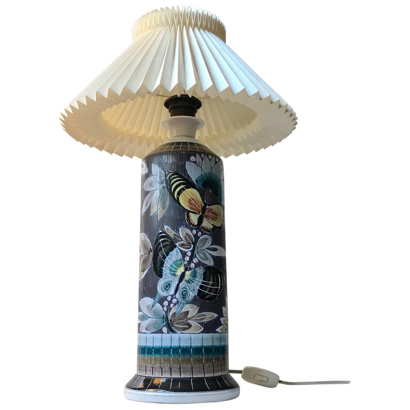 Sgraffito Table Lamp with Butterflies by Marian Zawadsky for Alms Keramik, 1960s
