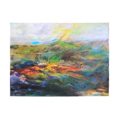 Dark Toned Landscape with Green Mountain Impressionist Painting