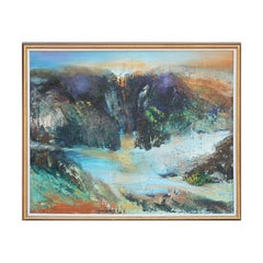 """""""Desert Dawn"""" Blue Toned Abstract Impressionist Waterfall Landscape Painting"""