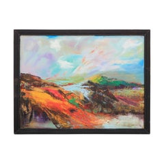 Orange and Blue Toned Abstract Impressionist Mountain & Lake Landscape Painting
