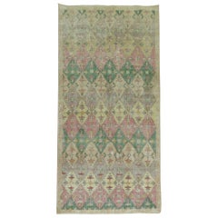 Shabby Chic 20th Century Turkish Runner with Pink and Green Accent Colors