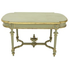 Shabby Chic and Gold Leaf Distressed Antique Writing Table Desk Large Console