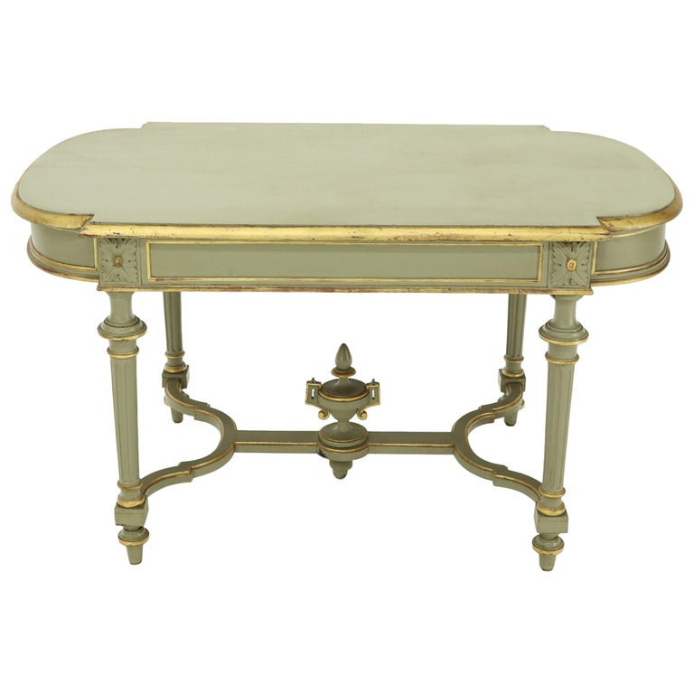 Gold Shabby Chic Coffee Table: Shabby Chic And Gold Leaf Distressed Antique Writing Table