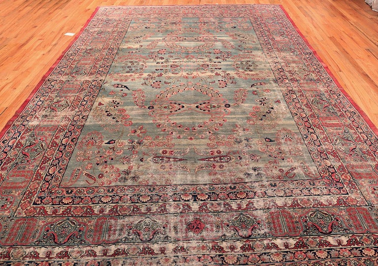 Shabby Chic Antique Persian Kerman Rug For Sale 3
