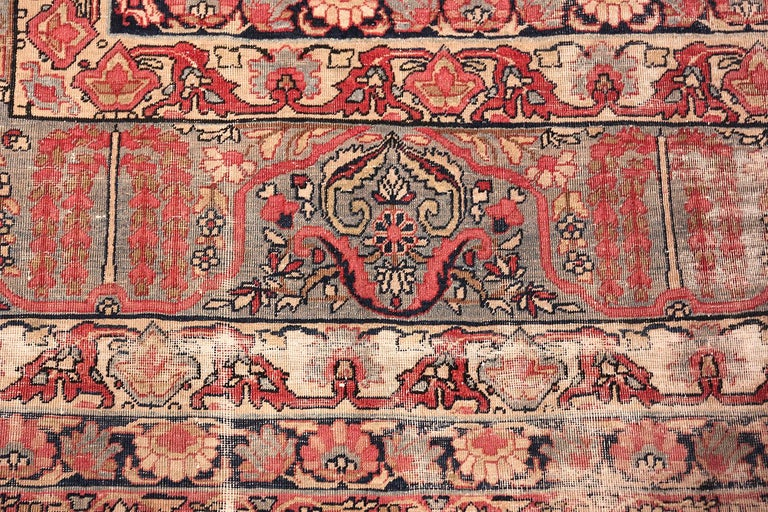Beautiful shabby chic antique Persian Kerman rug, country of origin: Persia, circa 1900 - The refined character and gorgeous colors of this Persian Kerman rug form the turn of the 20th century are remarkably suitable for modern design trends. The