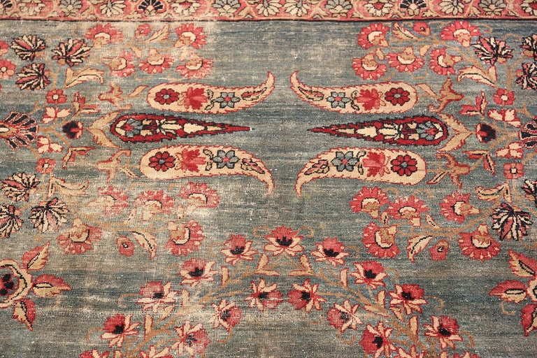 Hand-Knotted Shabby Chic Antique Persian Kerman Rug For Sale