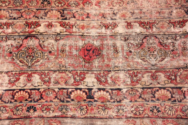 Shabby Chic Antique Persian Kerman Rug For Sale 1