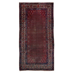 Shabby Chic Antique Persian Malayer Gallery Rug, Navy & Light Red Paisley Field