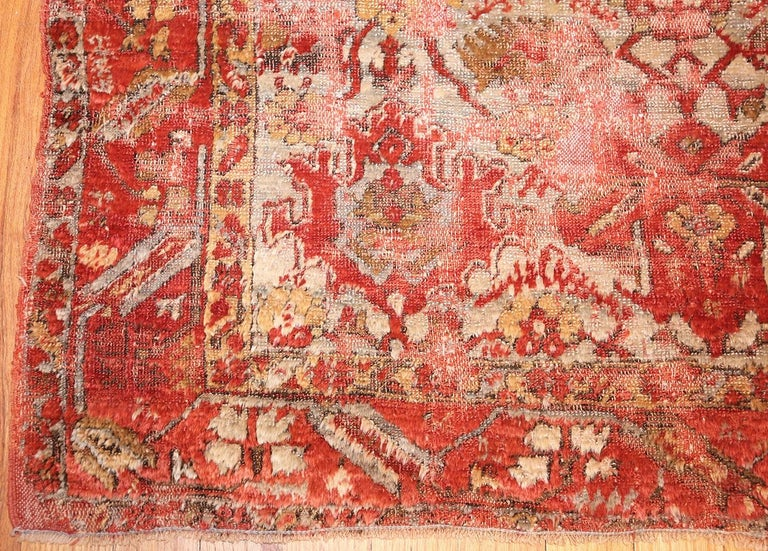 Hand-Knotted Shabby Chic Antique Turkish Angora Oushak Rug For Sale