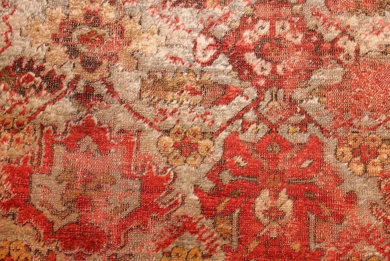 Shabby Chic Antique Turkish Angora Oushak Rug In Distressed Condition For Sale In New York, NY