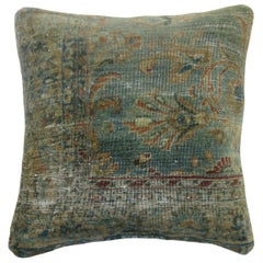 Shabby Chic Blue Green Antique Persian Rug Pillow