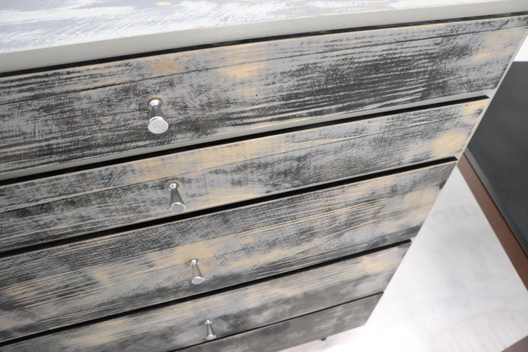 Shabby Chic Finish 5 Drawers Paul McCobb Dresser with Cone Pulls For Sale 2