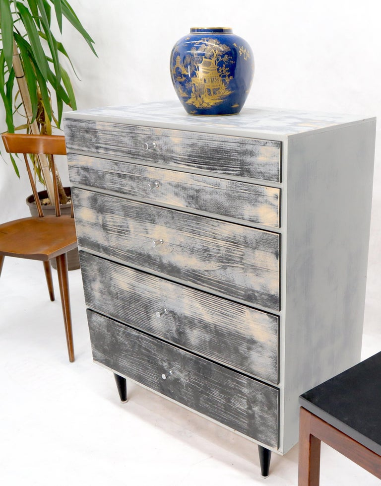 Shabby Chic Finish 5 Drawers Paul McCobb Dresser with Cone Pulls For Sale 5