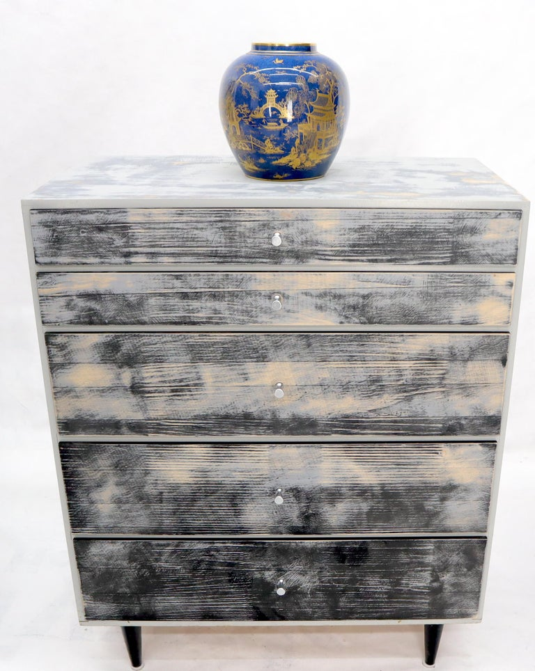 Super nice shabby chic finish five drawers Paul McCobb tall dresser bachelor chest.
