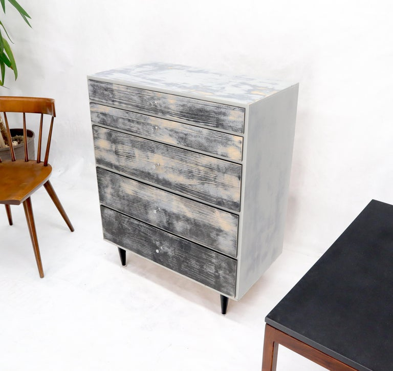 20th Century Shabby Chic Finish 5 Drawers Paul McCobb Dresser with Cone Pulls For Sale