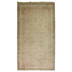 Shabby Chic Gray Khotan Gallery Size Wool Late 19th Century Carpet