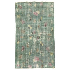 Shabby Chic Green Zeki Muren Turkish Deco Rug