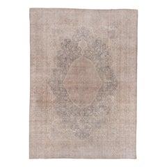 Shabby Chic Oushak Carpet, Gray Field