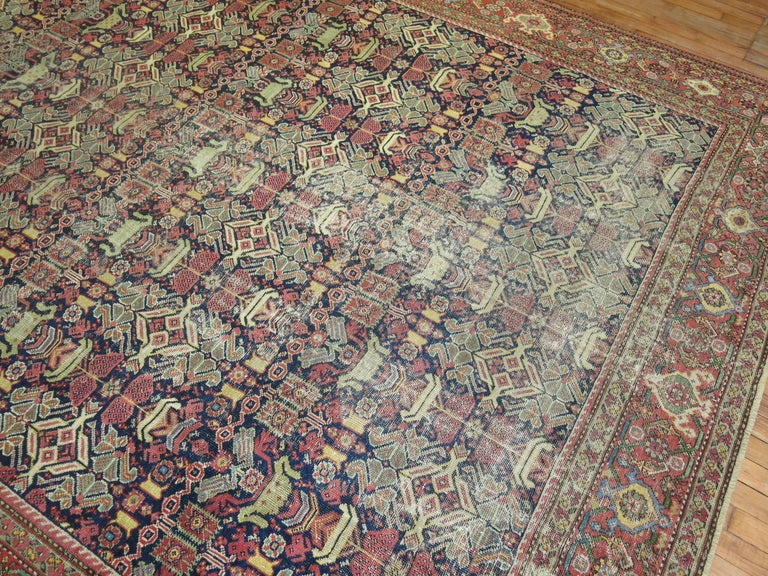 One of a kind shabby chic room size Persian rug.