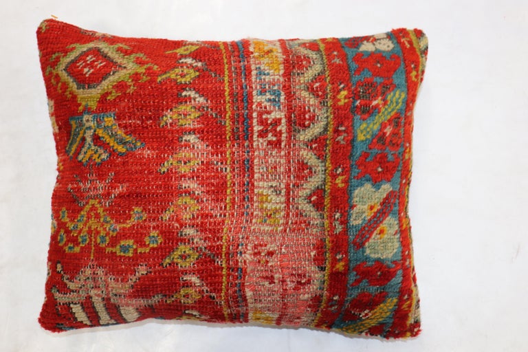 Agra Shabby Chic Red Antique Turkish Ghiordes Rug Pillow For Sale