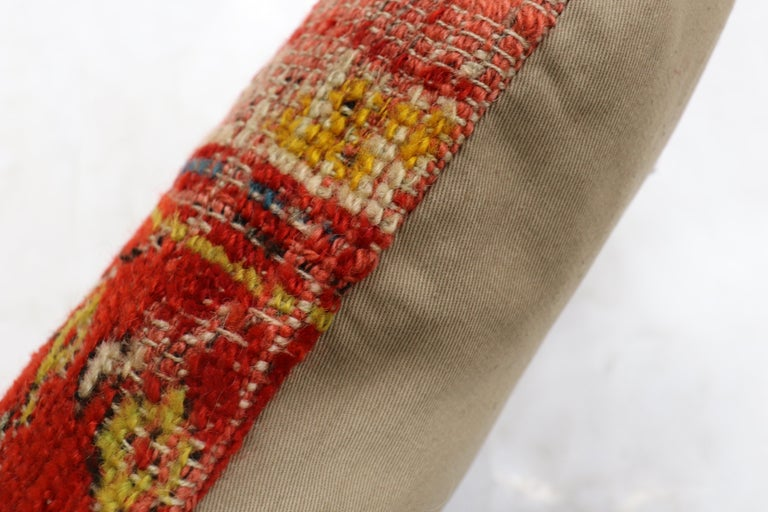 Shabby Chic Red Antique Turkish Ghiordes Rug Pillow In Good Condition For Sale In New York, NY