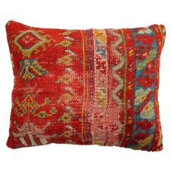 Shabby Chic Red Antique Turkish Ghiordes Rug Pillow