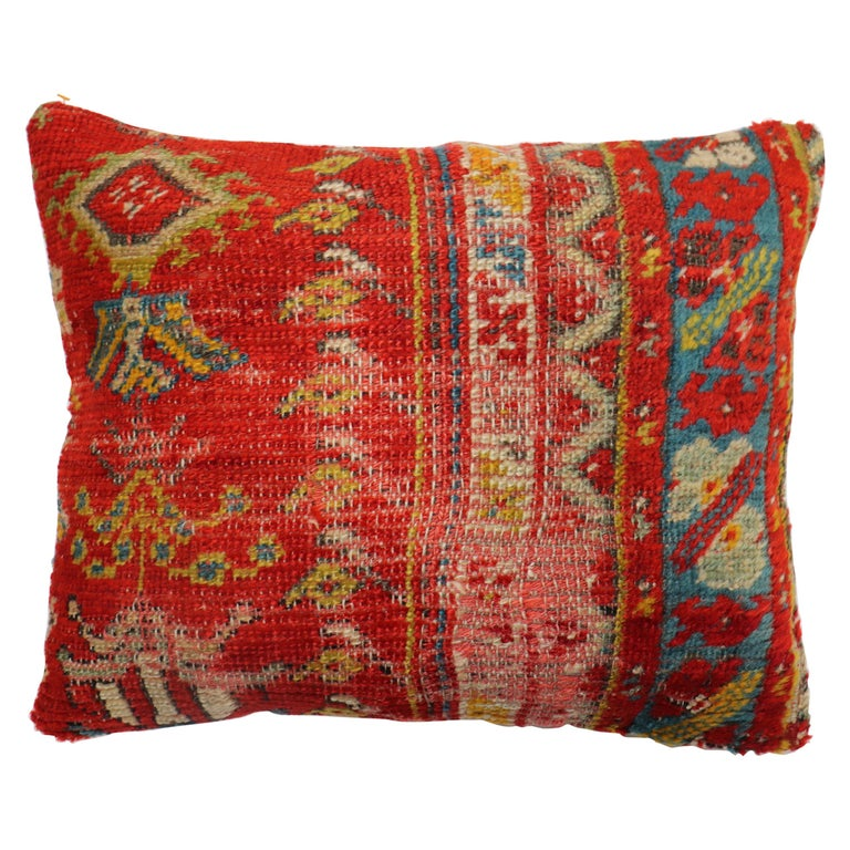 Shabby Chic Red Antique Turkish Ghiordes Rug Pillow For Sale