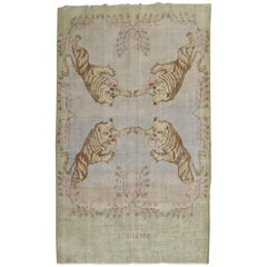 Shabby Chic Tiger Animal Room Size Rug, Dated 1982