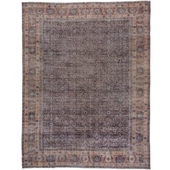 Shabby Chic Turkish Sivas Rug, Navy Field, Brown Borders, Herati Design