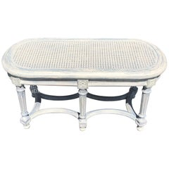 Shabby Chic Whitewashed Cane Bench