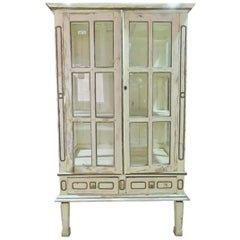 Shabby Chippy White Painted Antique 1840s Era Gustavian Swedish China Cabinet
