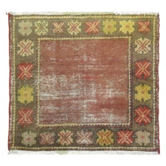 Shabby Shic Mud Color Open Field Turkish Anatolian Square Hand Knotted Rug