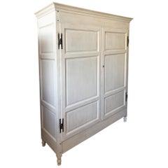 Shabby White Wardrobe, Original Italian from 1870, Two Internal Drawers, Poplar