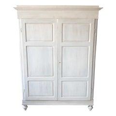 Shabby White Wardrobe, Original Italian from 1880, Two Internal Drawers