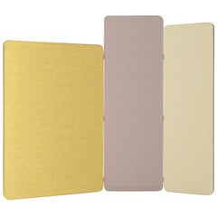 Shade Yellow Gray and Ivory 3-Panel Screen