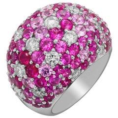 Shaded Pink Sapphires Diamonds 18 Karat White Gold Dome Ring