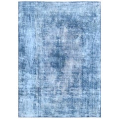 Shades of Blue Hand Knotted Old Persian Kerman Oriental Rug