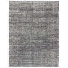 Shades of Gray and Charcoal Modern Indian Flat-Weave Rug
