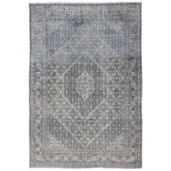 Shades of Gray Antique Persian Tabriz Rug with Geometric Floral Medallion Design