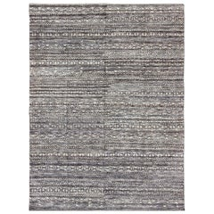 Shades of Midnight Blue, Royal Blue and Charcoal Modern Design Piled Rug