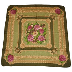 """Shades of Olive Green Among Blooming Floral"" Silk Scarf"