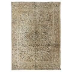 Shades of Tan Vintage Persian Tabriz Rug with Geometric Floral Medallion Design