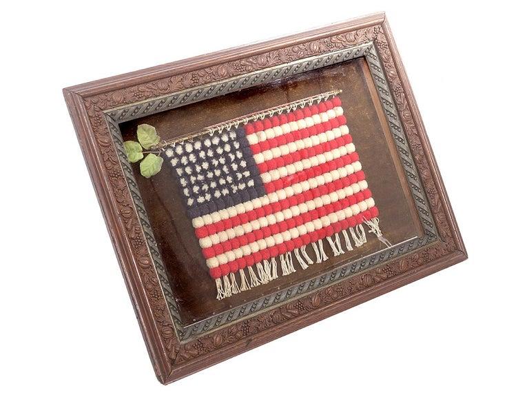 American Shadow Box with Folk Art Flag For Sale