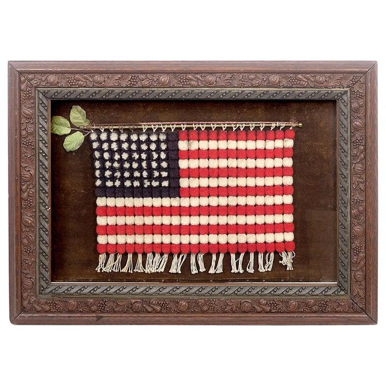 Shadow Box with Folk Art Flag For Sale